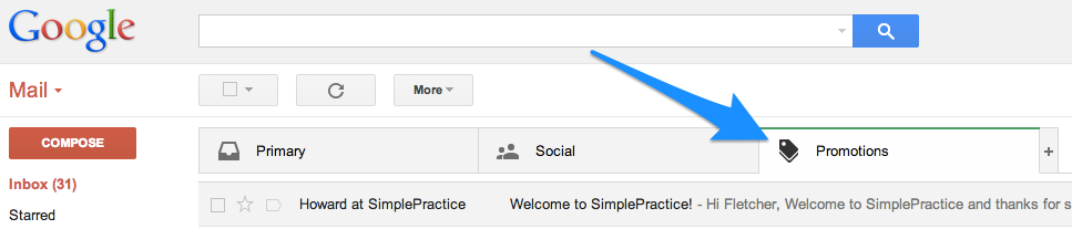 SimplePractice emails sent to Promotions tab in Gmail