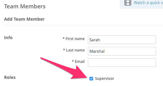 Assigning the supervisor role in SimplePractice