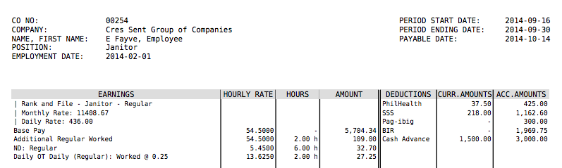What does PayrollHeros Payslip look like – Monthly Pay Slip