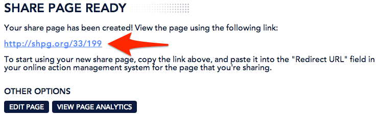 You will be given your share page URL after you create a share page.