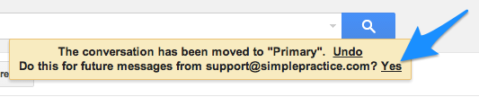 Confirm changes in Gmail to move SimplePractice emails from Promotions to your Primary tab in Gmail