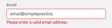 Enter a valid email address message in SimplePractice