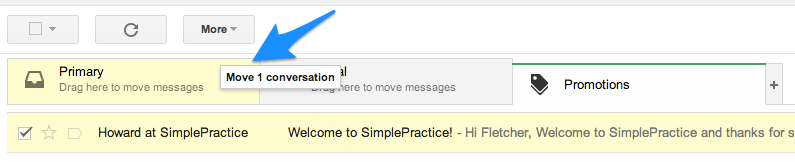 Click and drag SimplePractice emails from Promotions tab to your Primary tab in Gmail