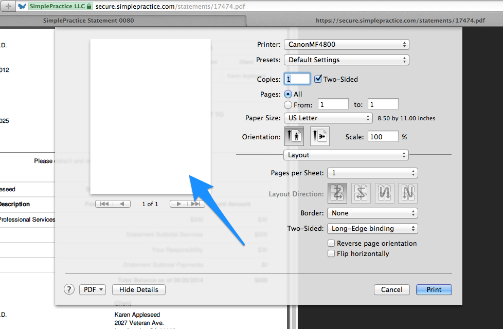 Blank pdf preview issue caused by Adobe Acrobat PDF viewer plug-in in SimplePractice