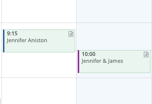 Office color is on the left border of calendar items.