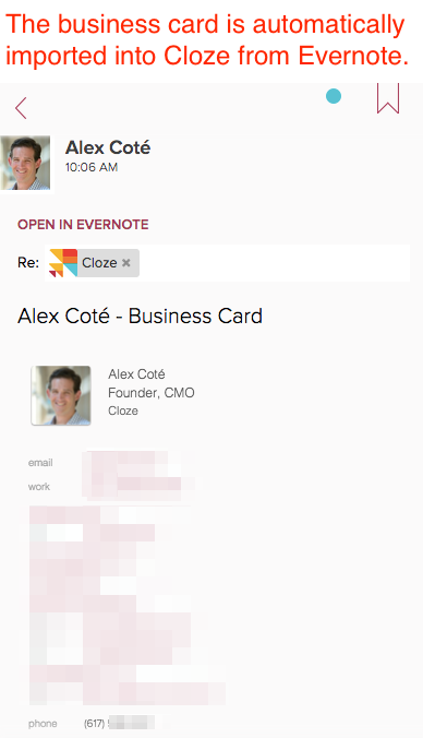 Can i scan a business card with evernote and have it automatically scan the business card with evernote 2 the contact information will be automatically added to cloze on your next sync reheart Images