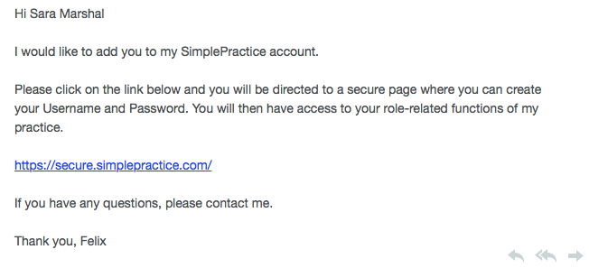Email asking supervisor to log into SimplePractice