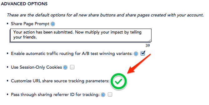 Find the option labeled Customize URL share source tracking parameters and check that box.