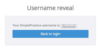 After entering your security code, your username will be shown to you