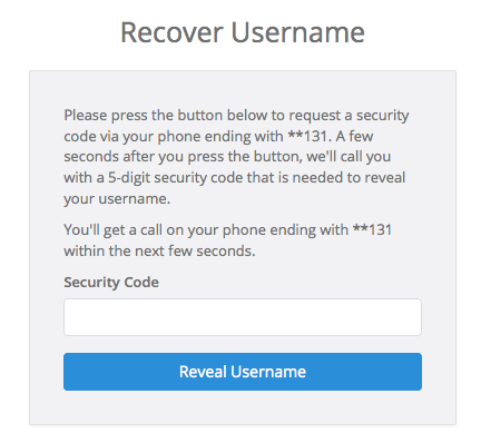 Enter the security you received from the phone call to recover your SimplePractice username